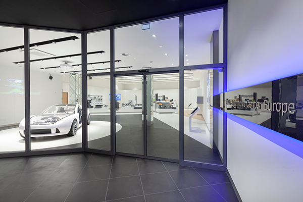 The AMCEU showroom displays Toray's wide range of products in the automotive sector.