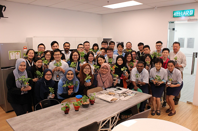 Group photo from TMS Spice office after everyone had done their planting